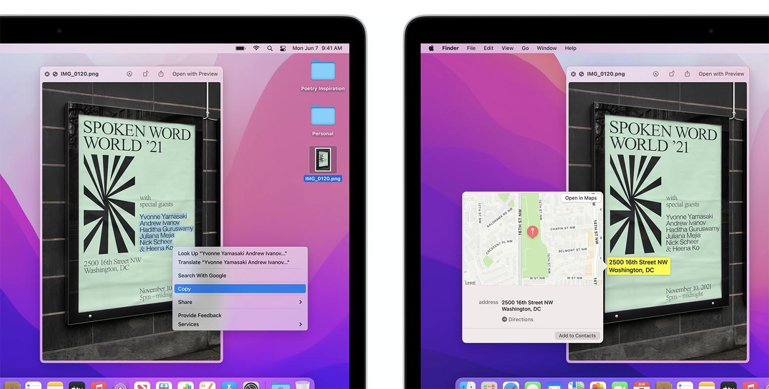 macOS Monterey Texte en direct