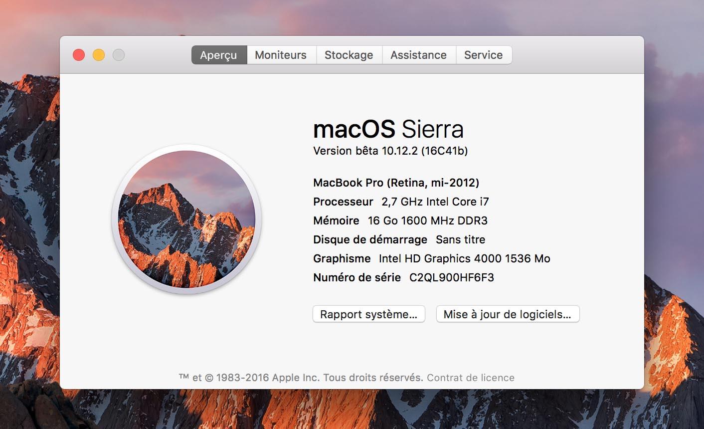 macOS 10.12.2 Sierra bêta 2