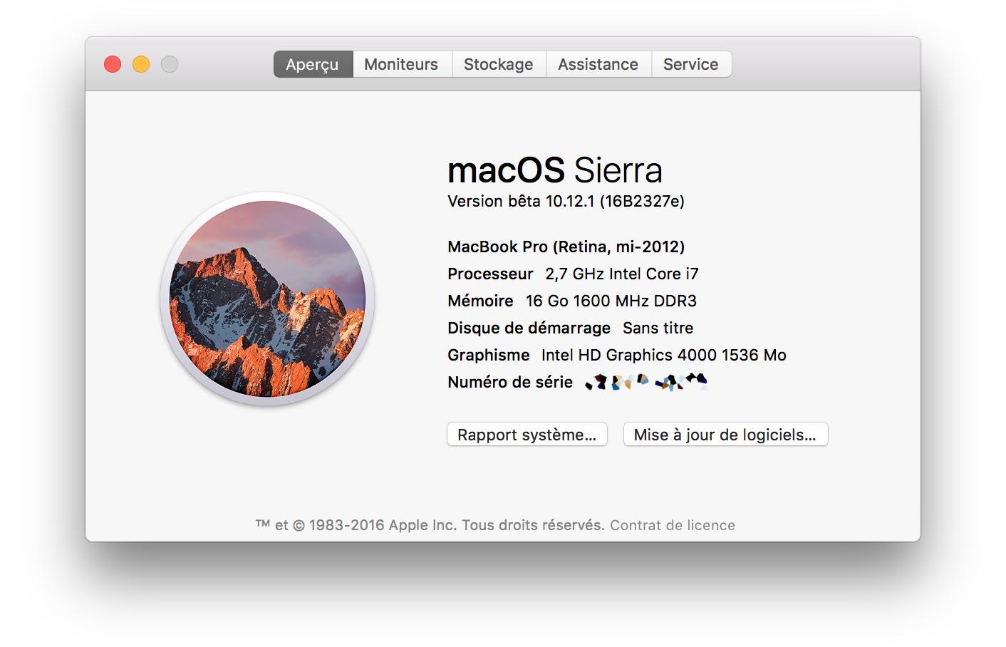 macOS Sierra 10.12.1 bêta