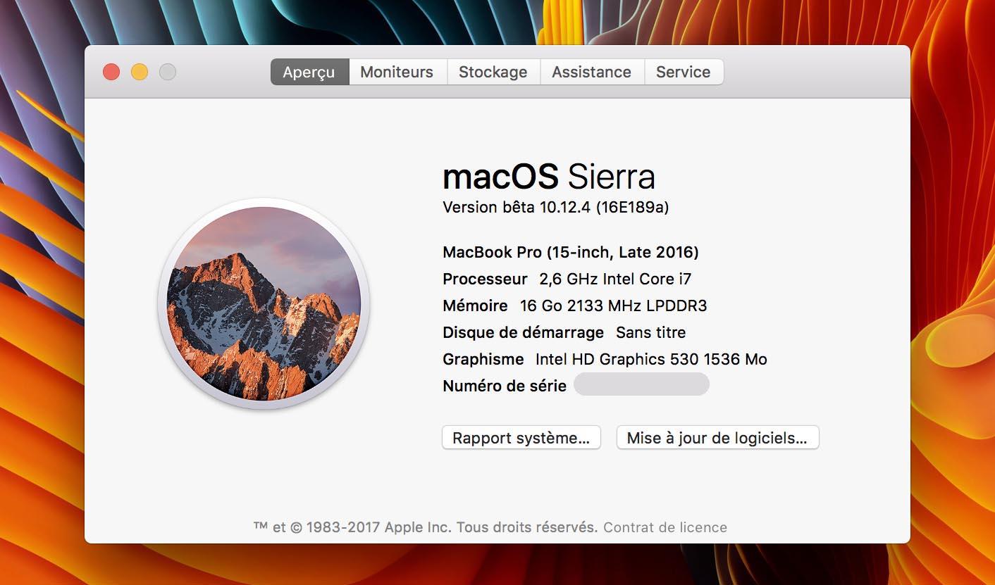 macOS Sierra 10.12.4 Beta 6