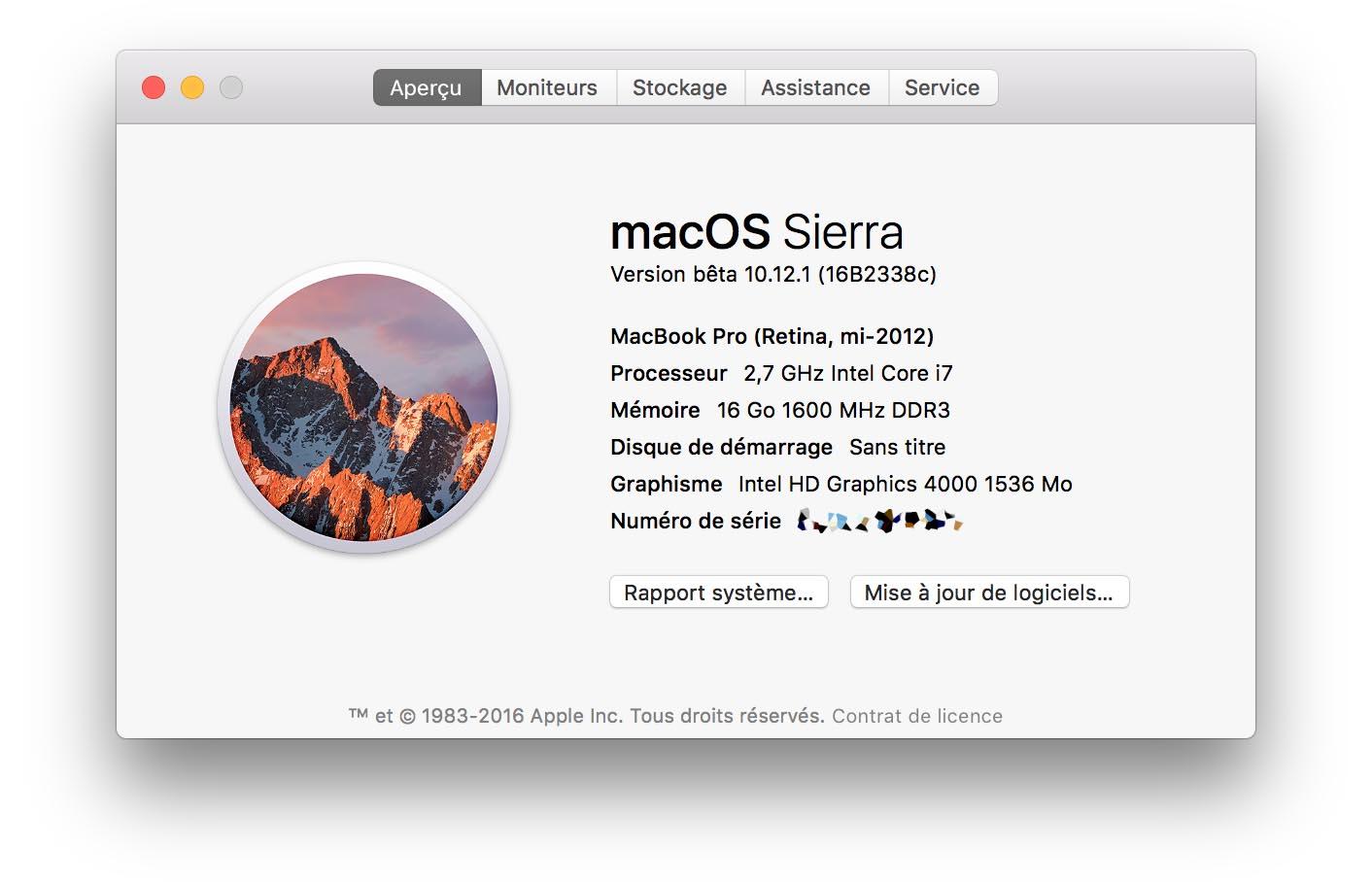 macOS 10.12.1 Bêta 3