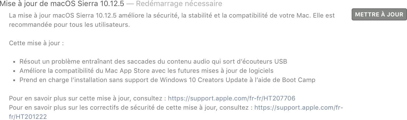 macOS 10.12.5 disponible