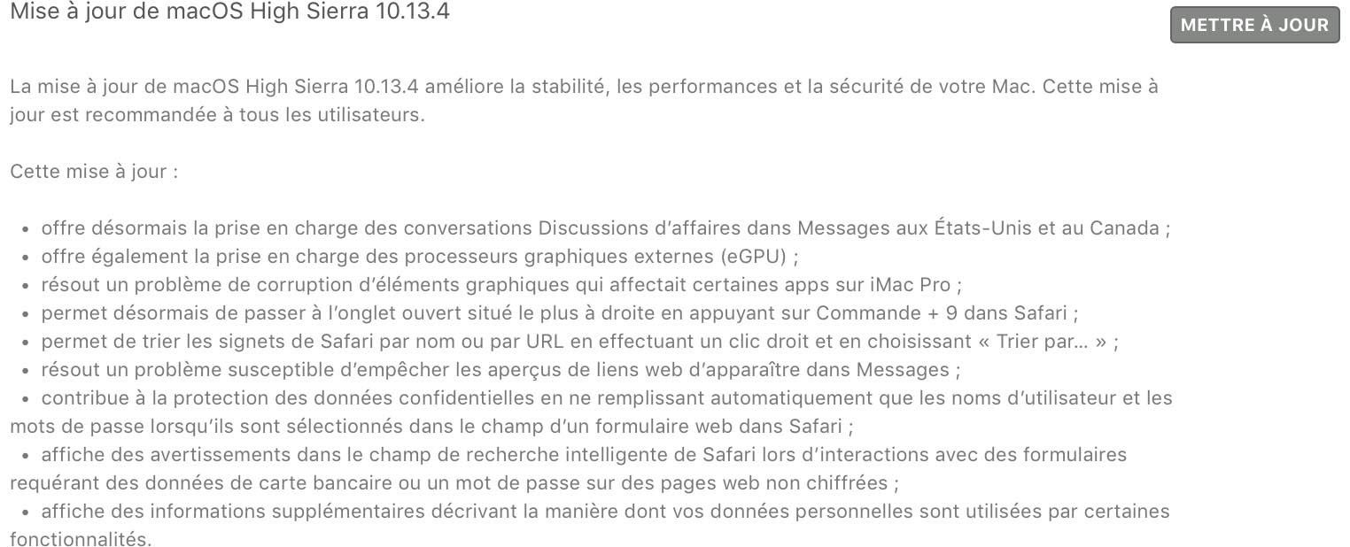 macOS 10.13.4 nouveautés