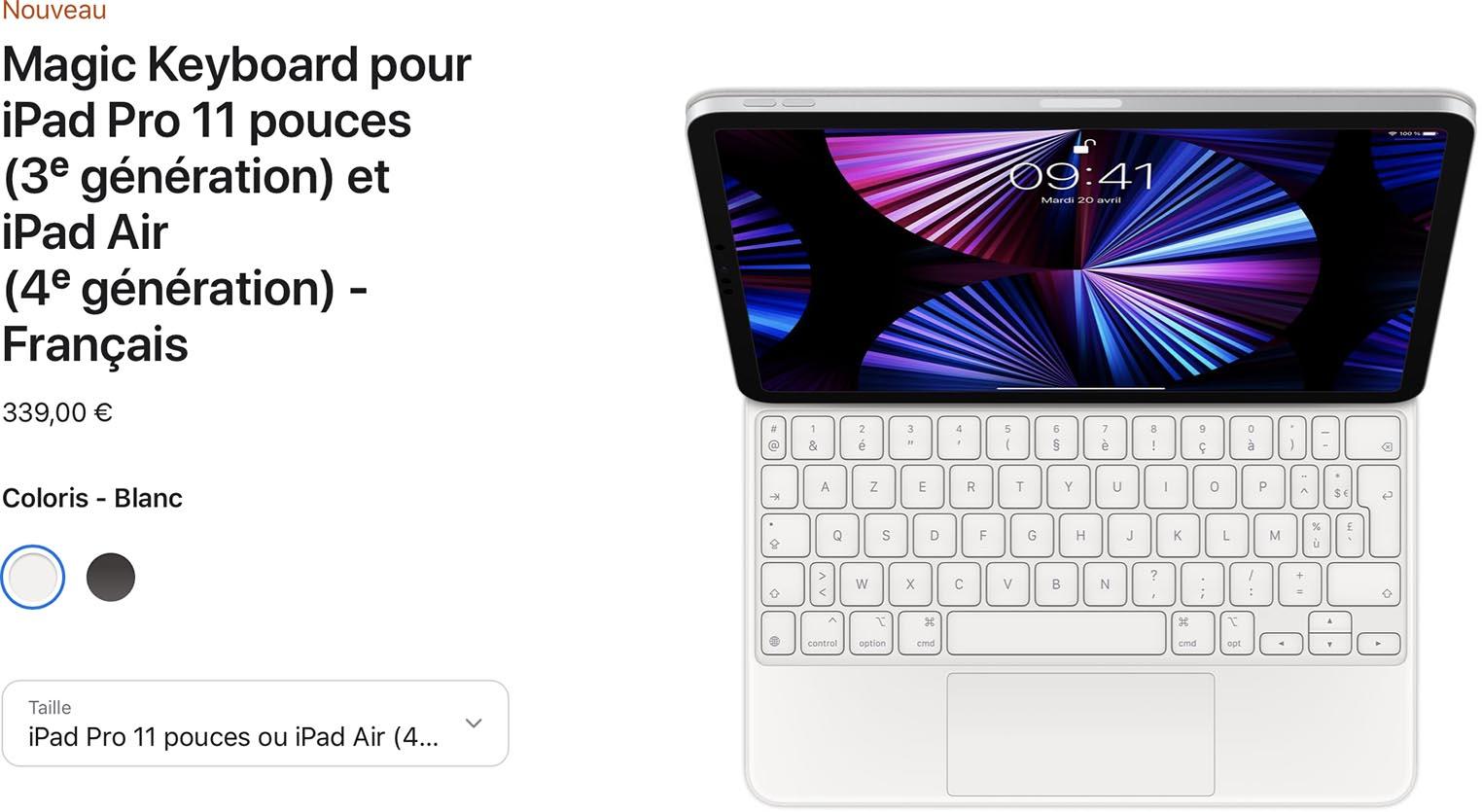 Magic Keyboard blanc iPad Pro
