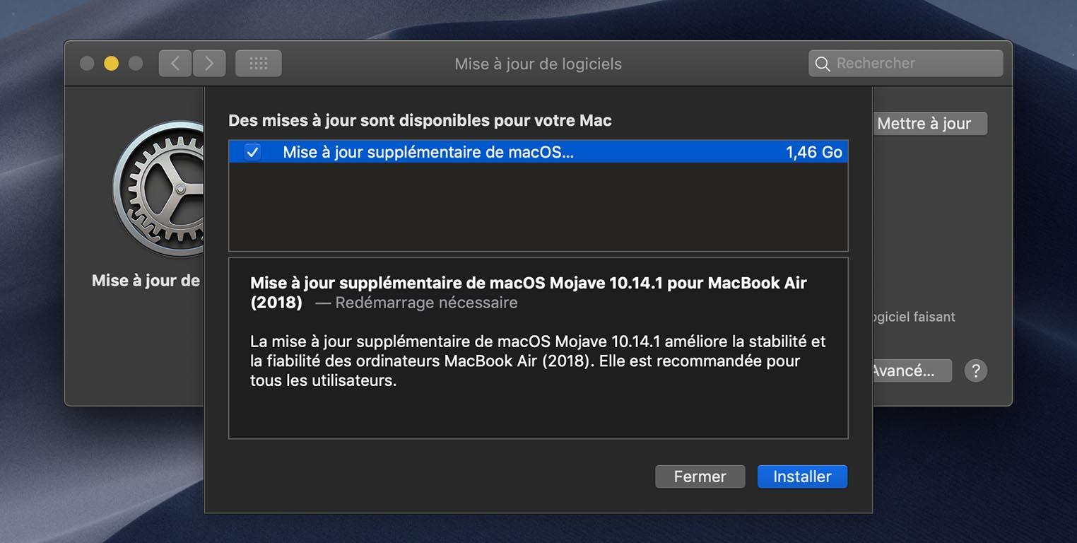 MacBook Air mise à jour Mojave