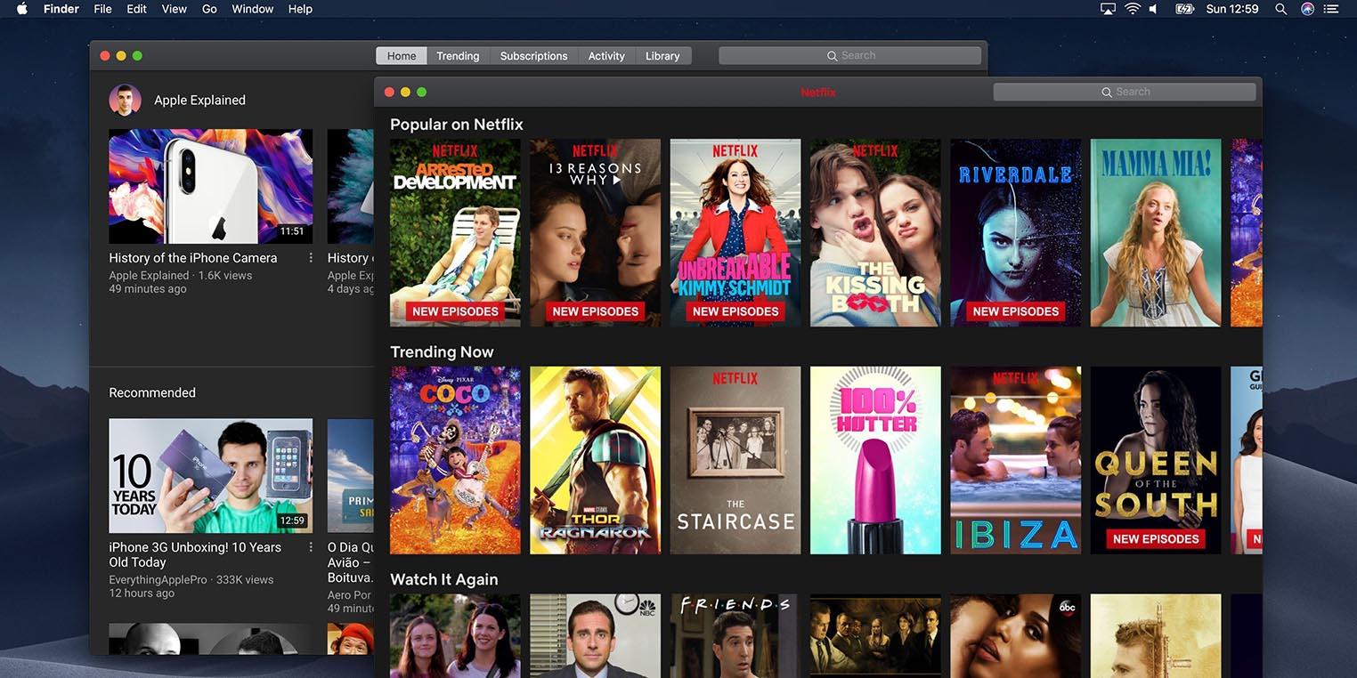 YouTube Netflix apps Mac