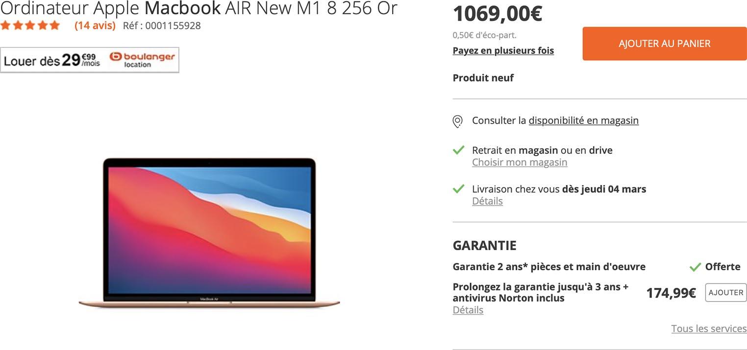 MacBook Air promo Boulanger