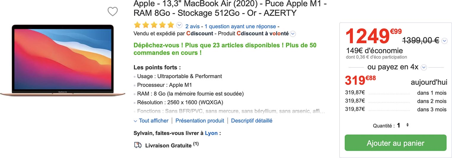 MacBook Air vente flash CDiscount