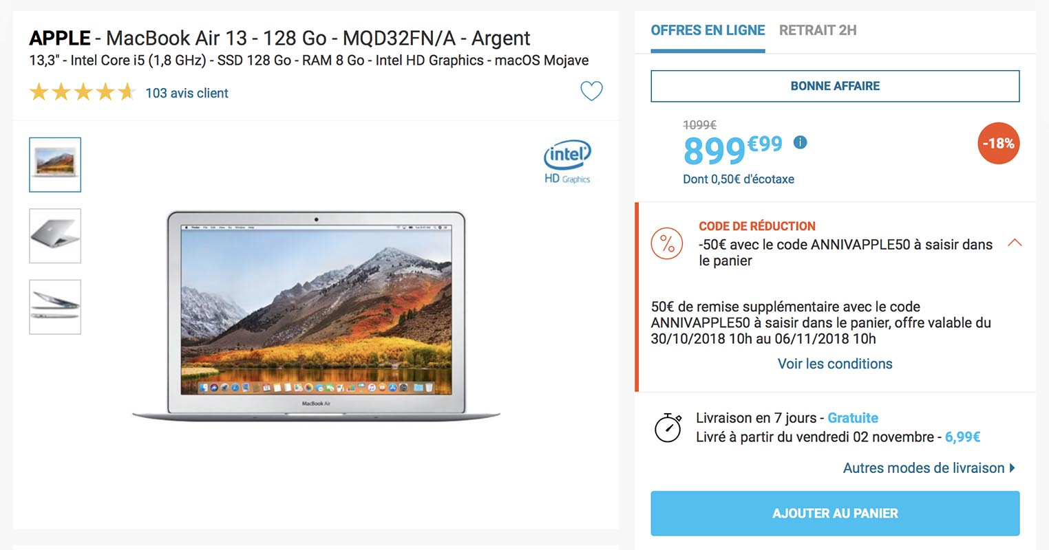 MacBook Air 13 pouces Rue du Commerce