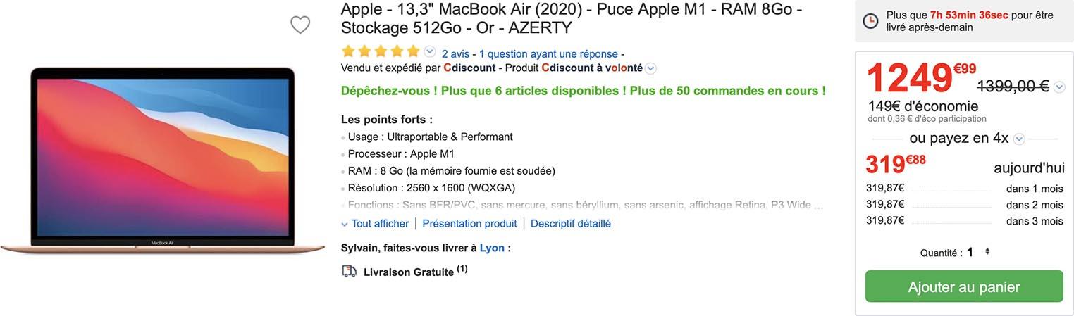 MacBook Air M1 doré CDiscount