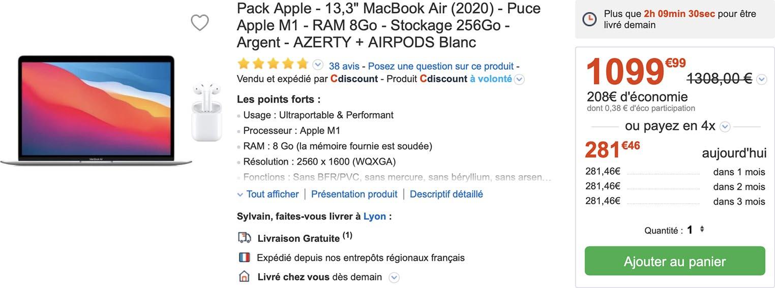 MacBook Air AirPods CDiscount