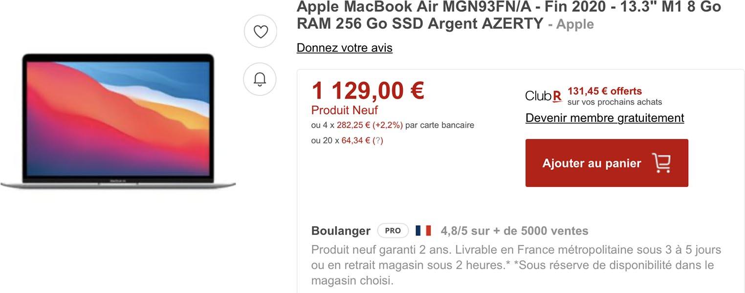 MacBook Air promo Rakuten Boulanger