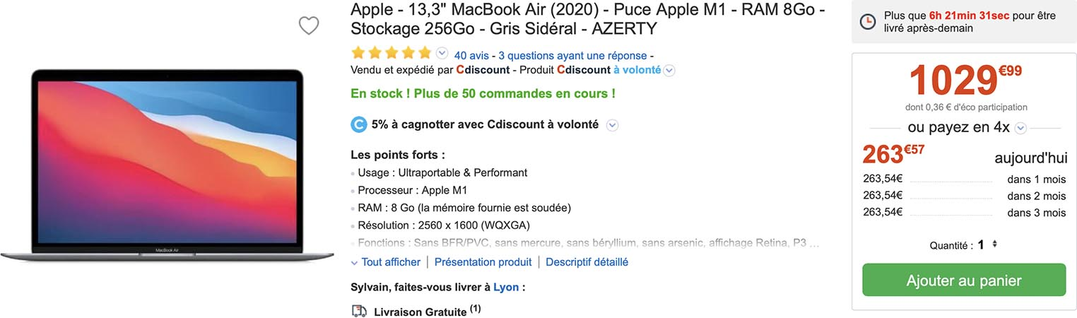 MacBook Air M1 CDiscount