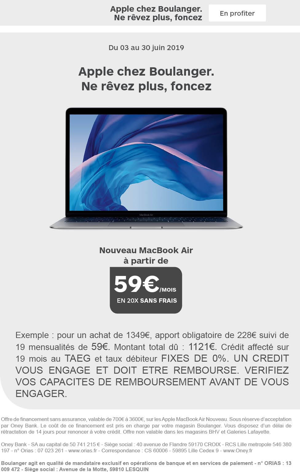 MacBook Air 20 fois sans frais Boulanger