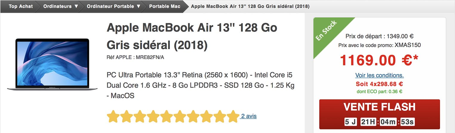 MacBook Air 2018 Top Achat