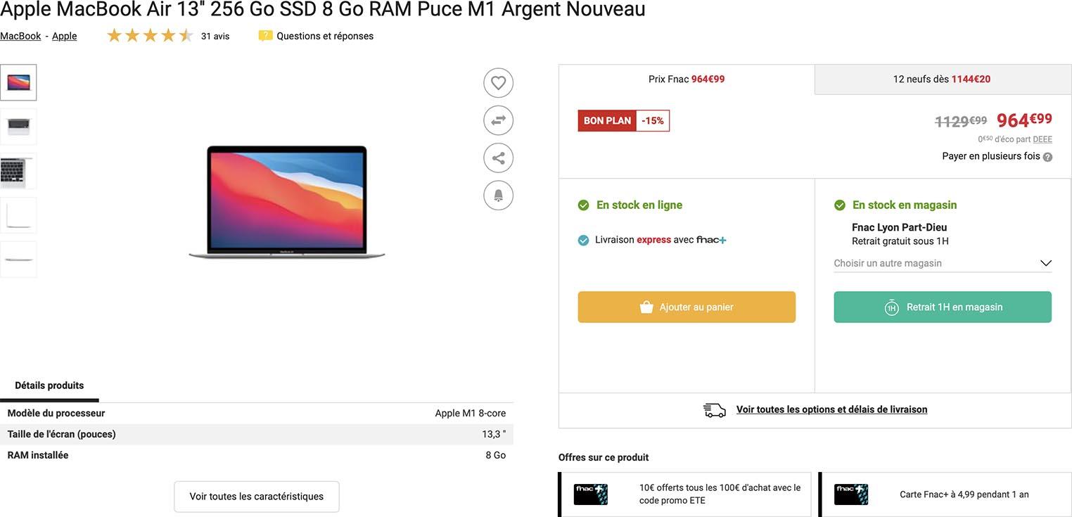 MacBook Air M1 vente flash Fnac