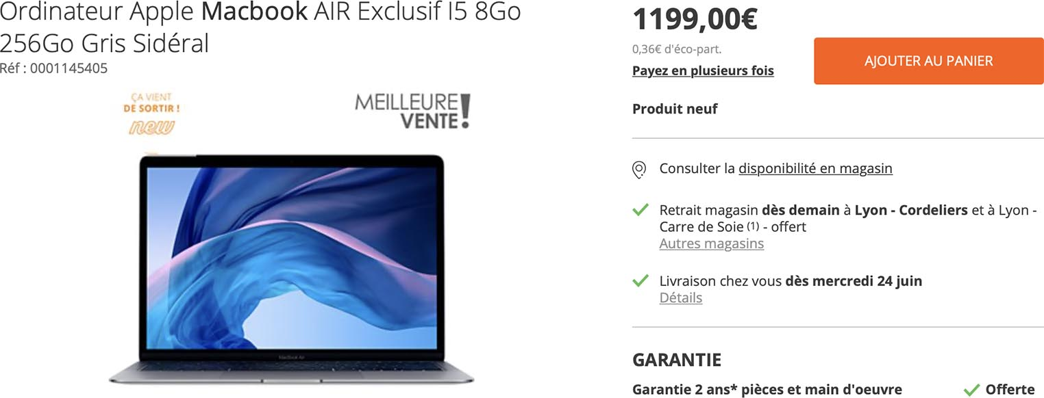 MacBook Air 2020 offre Boulanger