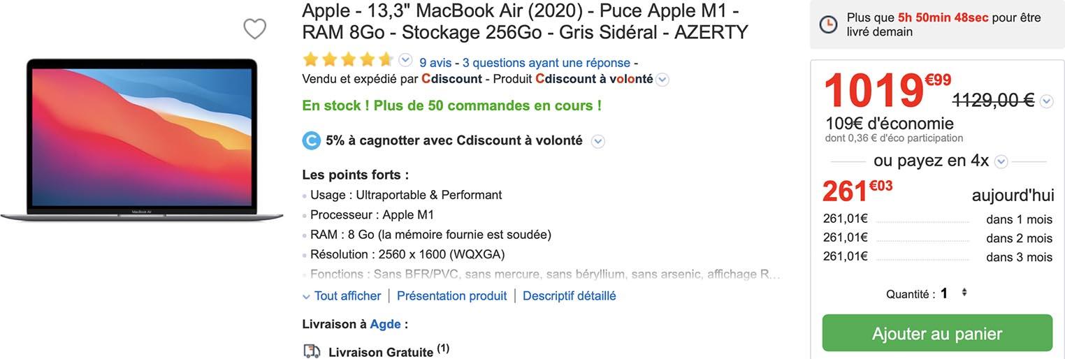 MacBook Air M1 promo Cdiscount