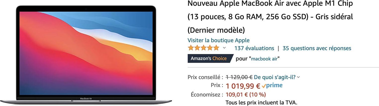 MacBook Air M1 promo Amazon