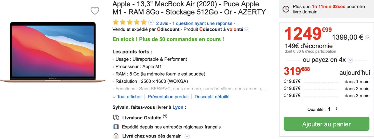 MacBook Air promo CDiscount