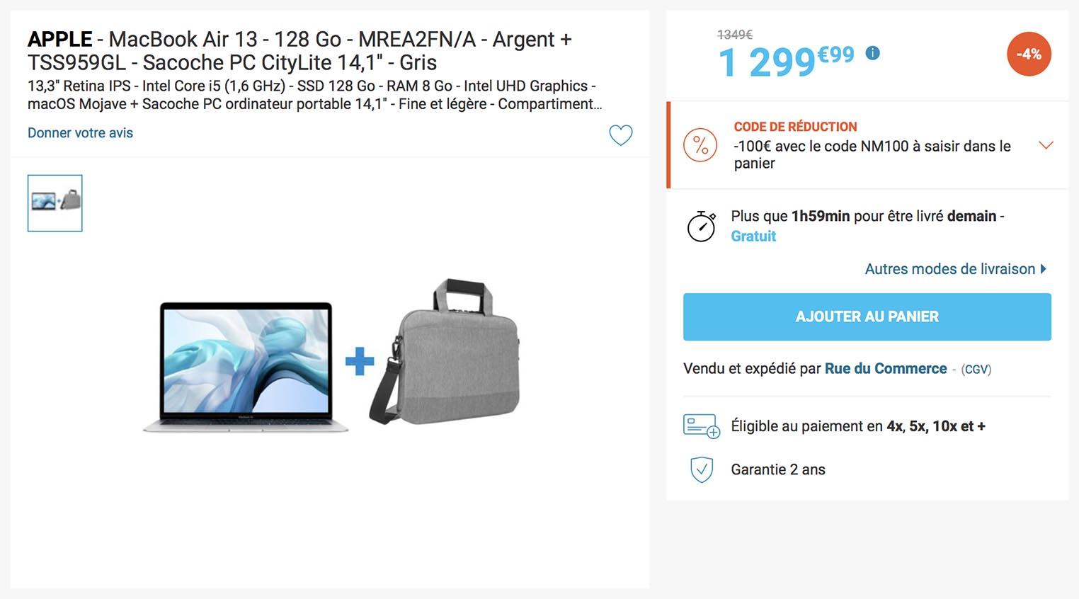MacBook Air sacoche promo Rue du Commerce