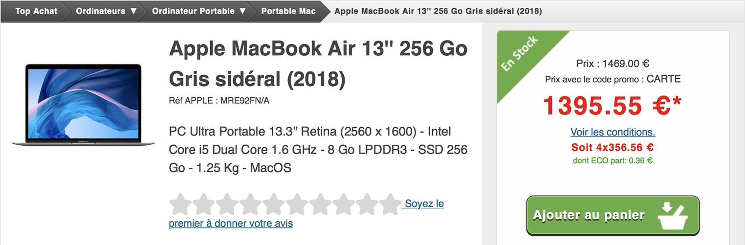 MacBook Air promo Top Achat