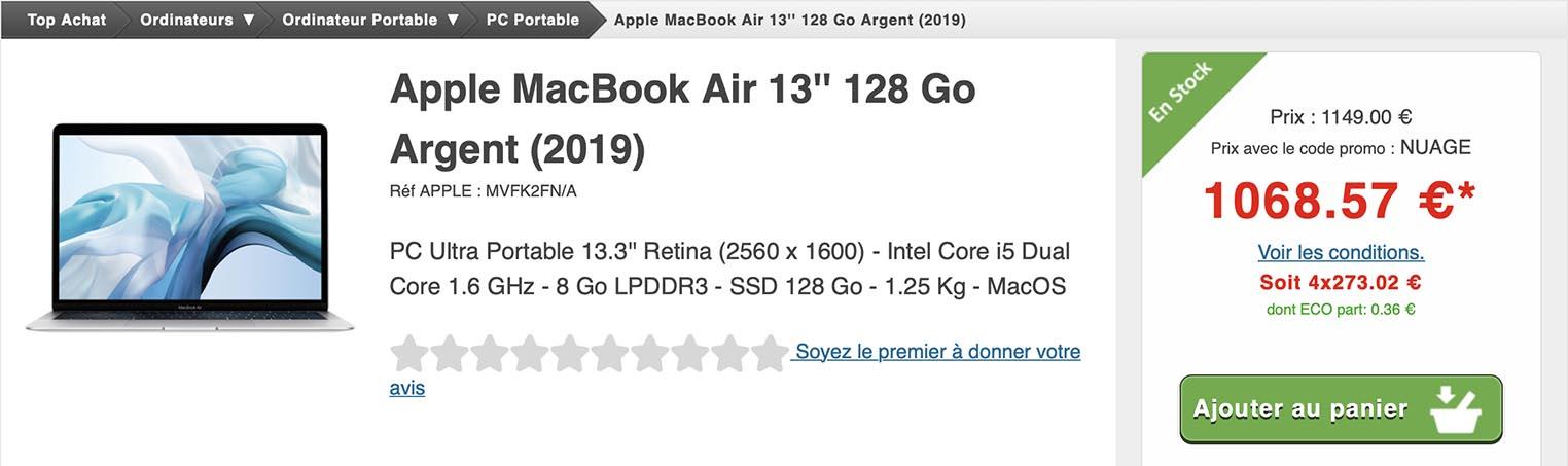 14% de remise sur les MacBook Air de 2019