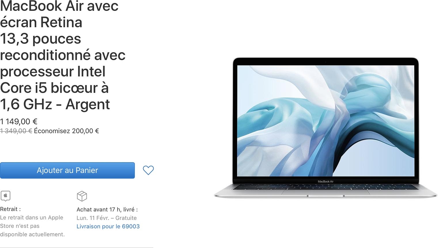 MacBook Air 2018 Refurb Store