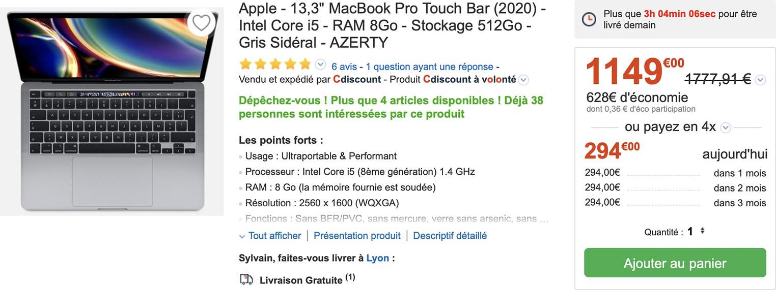 MacBook Pro 2020 CDiscount