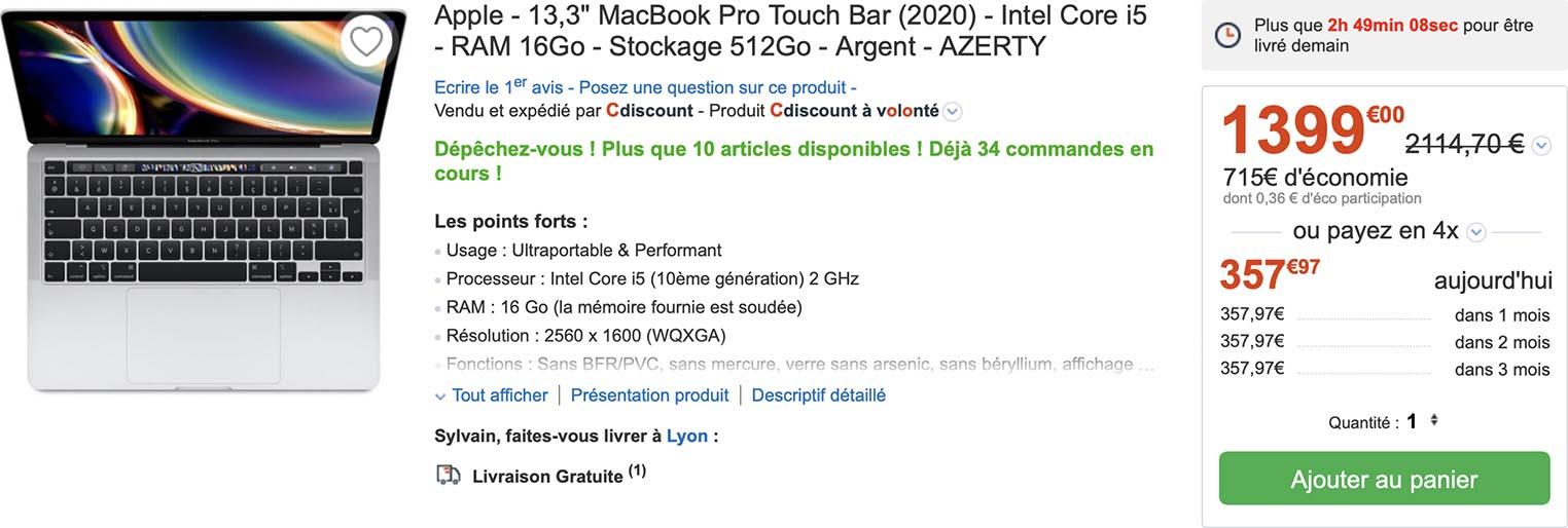 MacBook Pro 13 pouces promo CDiscount
