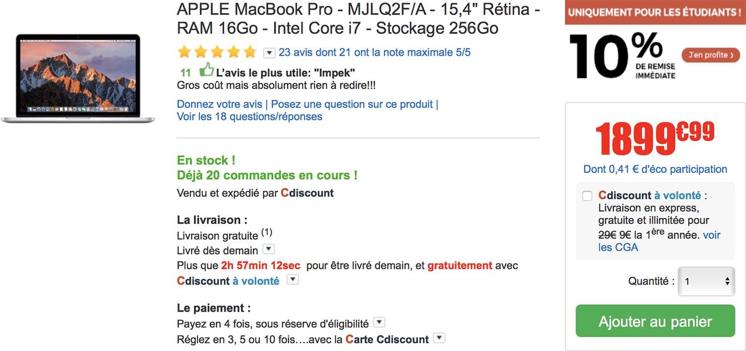 MacBook Pro 15 pouces CDiscount
