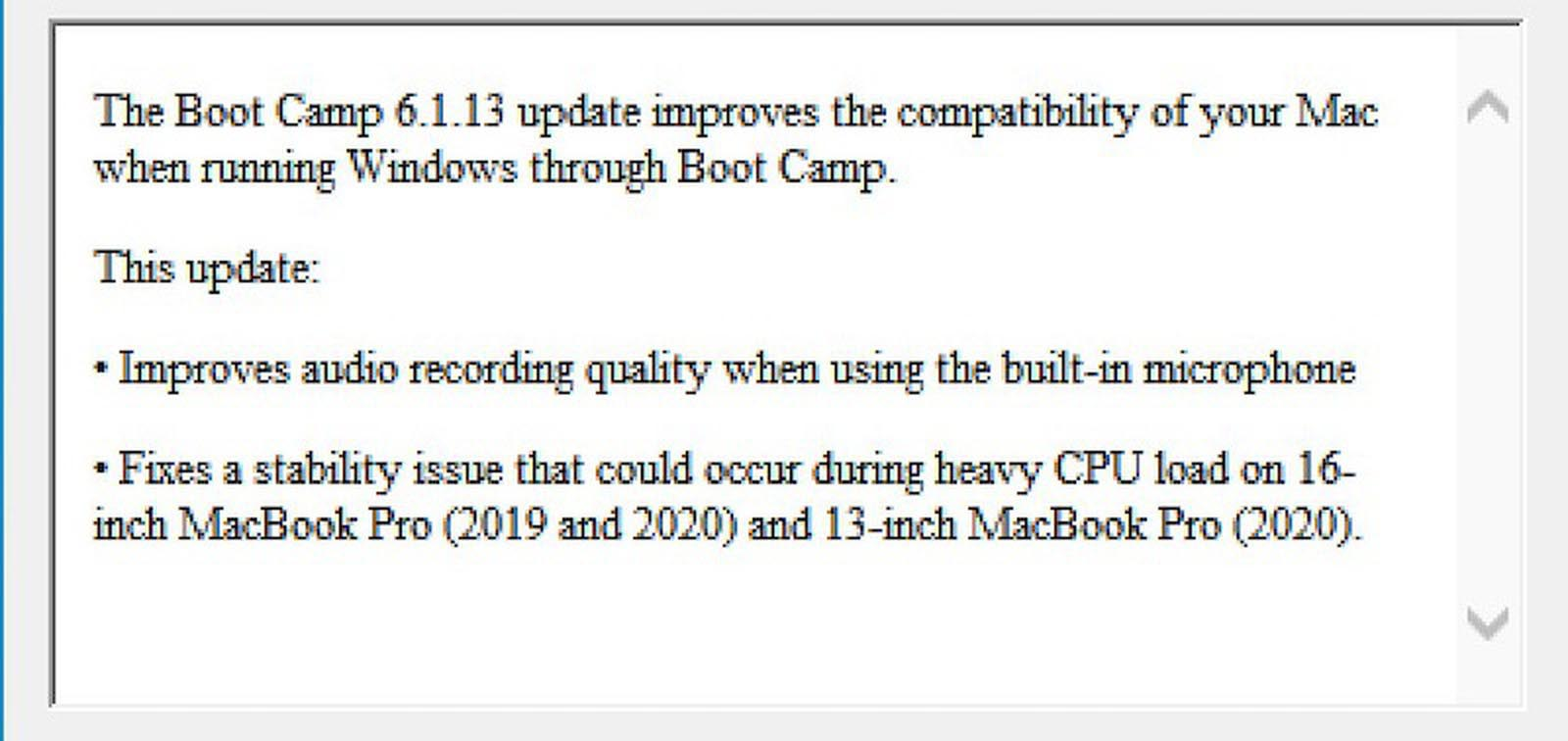 Boot Camp mise à jour MacBook Pro 16 pouces 2020
