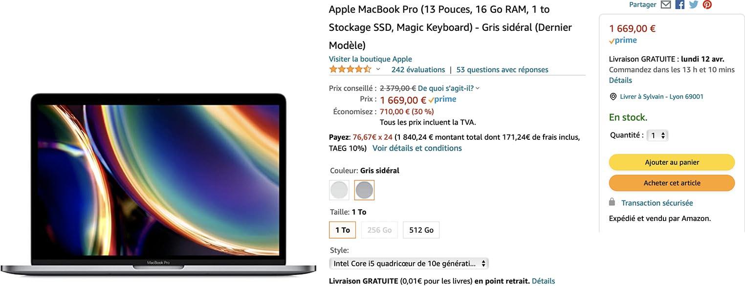 MacBook Pro promo Amazon
