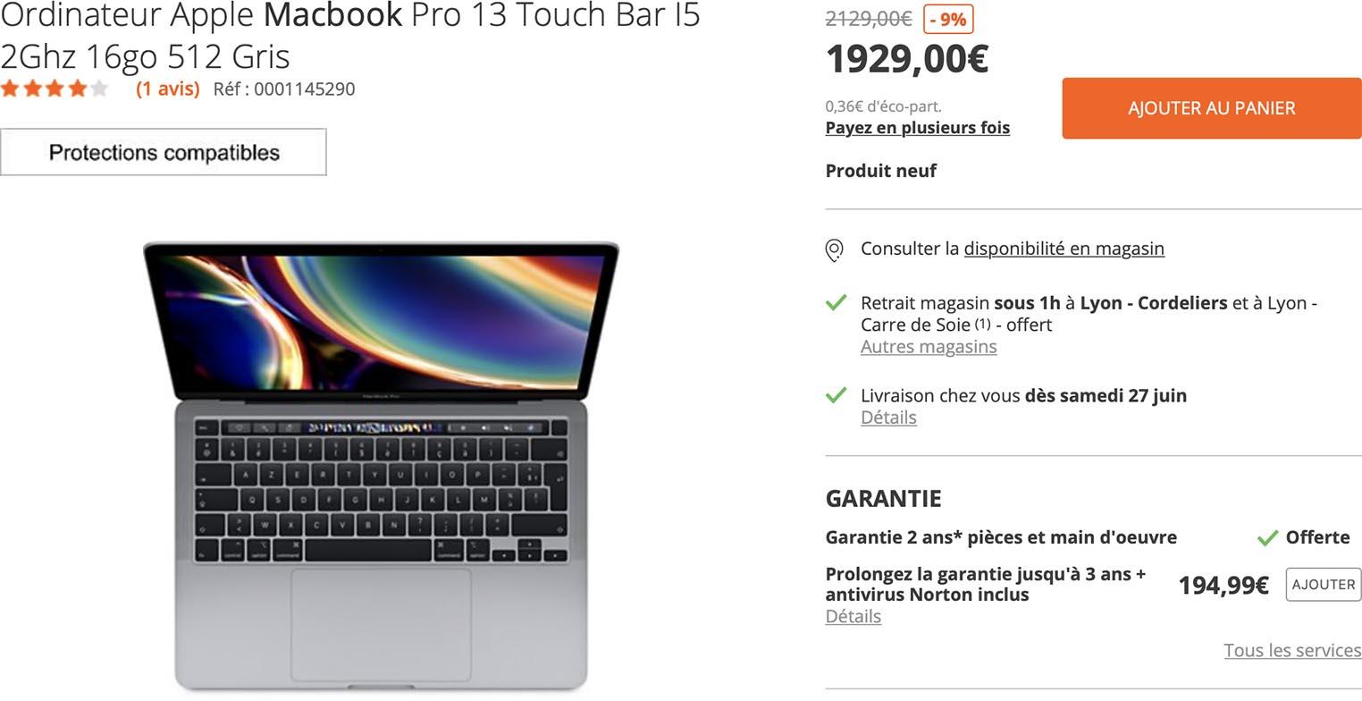 MacBook Pro 13 2020 Boulanger
