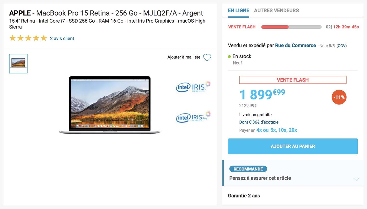 MacBook Pro 15 pouces promo Rue du Commerce