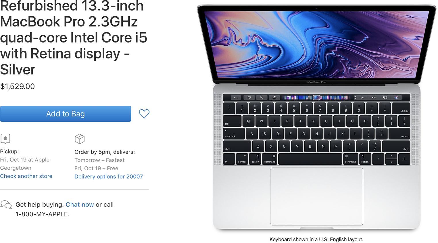 MacBook Pro 2018 Refurb Store US