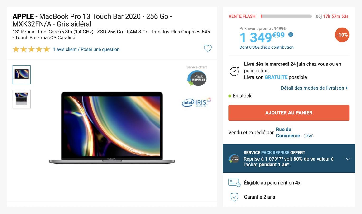 MacBook Pro 2020 Rue du Commerce