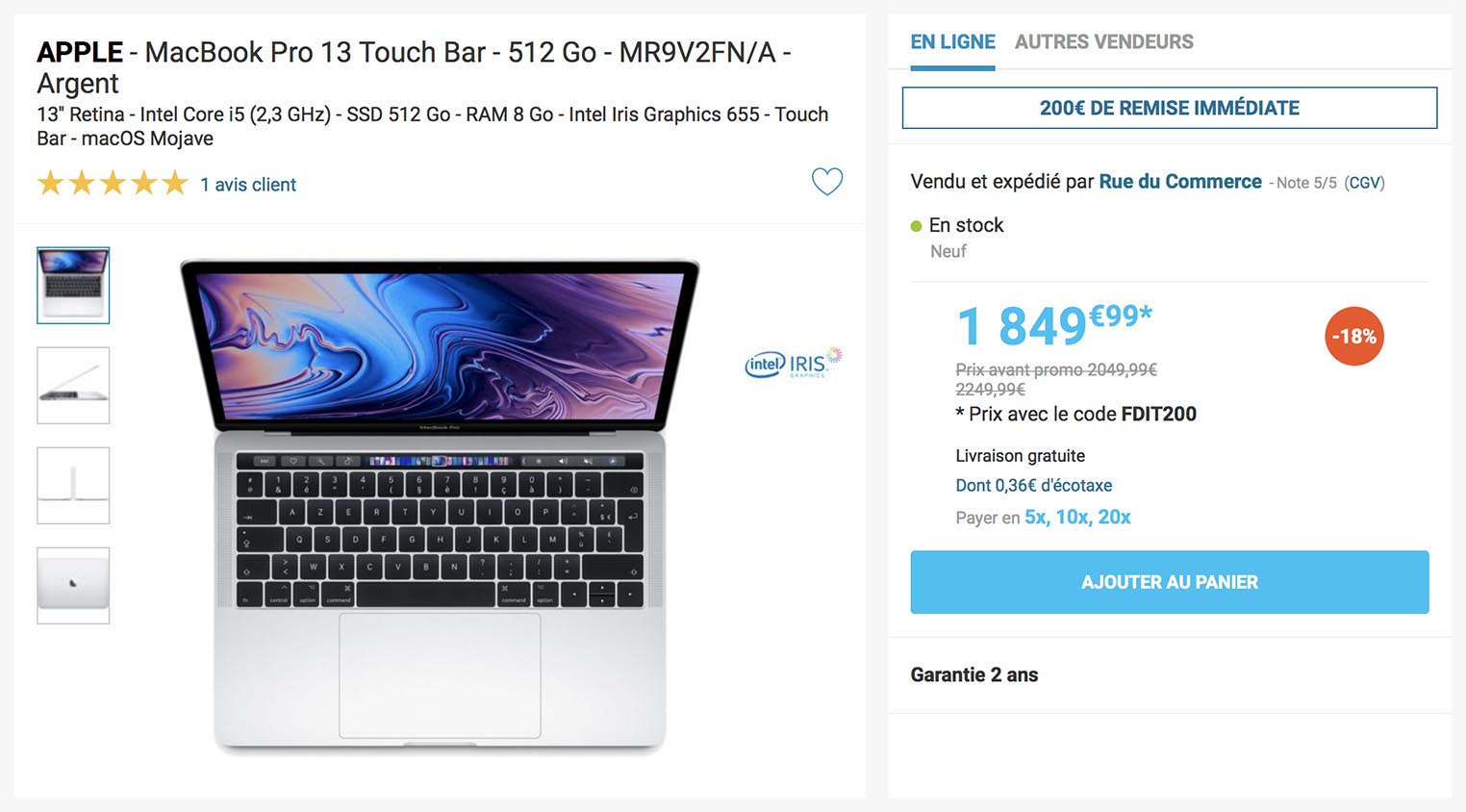 21b545b12f33 Consomac : French Days : jusqu'à -18,2% sur le MacBook Pro 2018 !