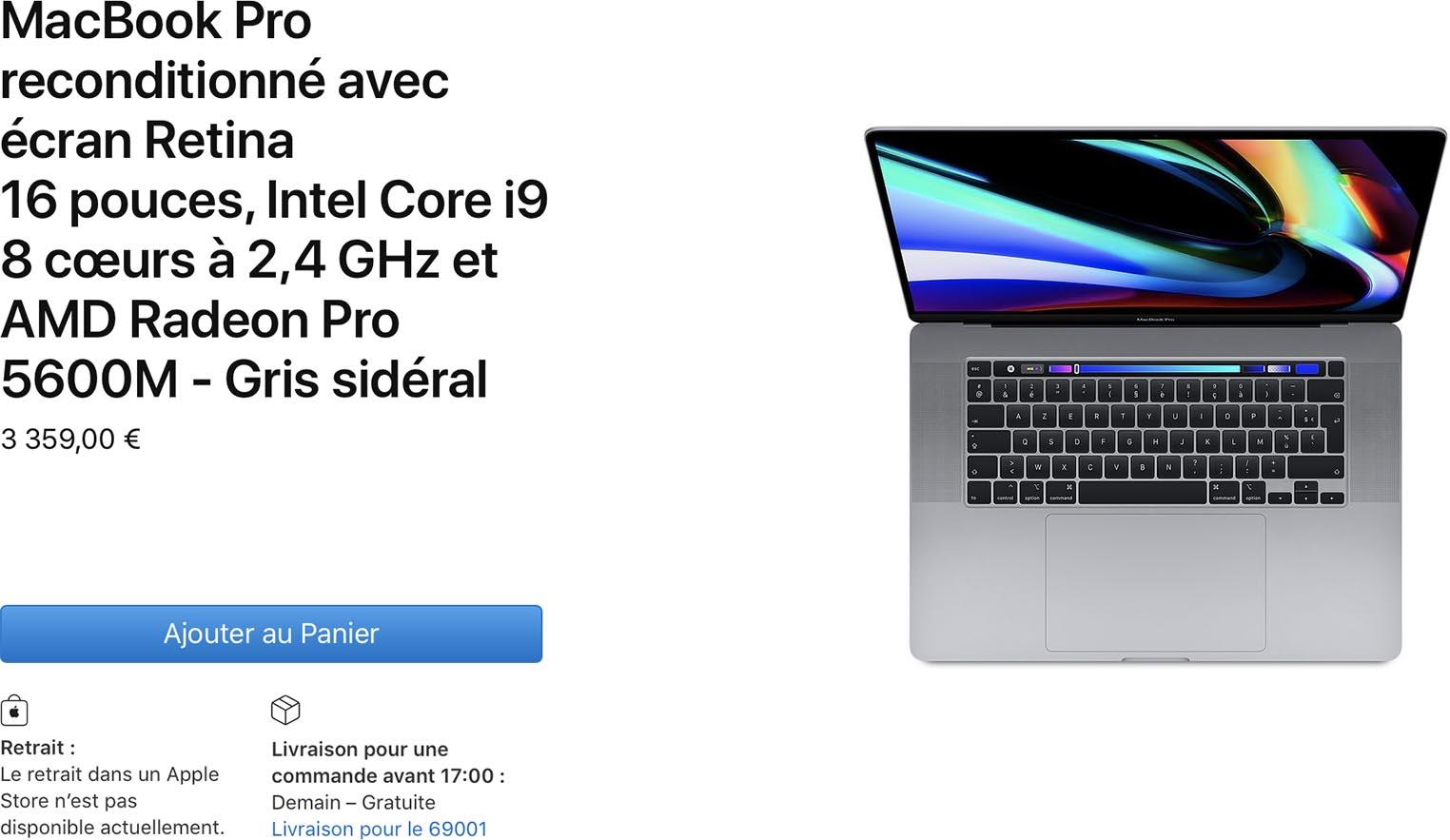 MacBook Pro 16 pouces 5600M Refurb