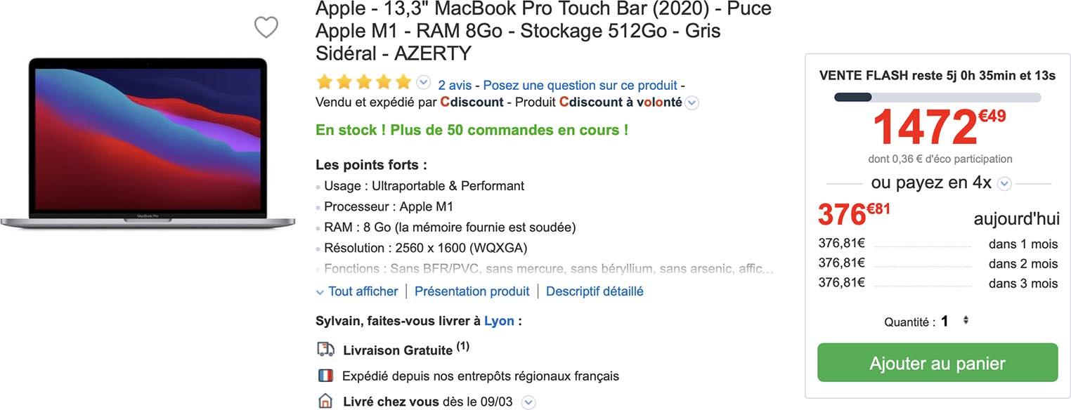MacBook Pro M1 CDiscount vente flash