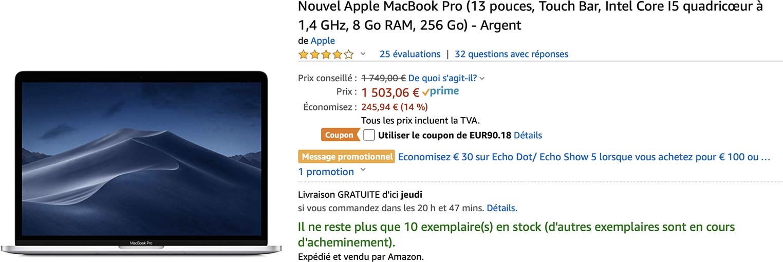 MacBook Pro Amazon coupon