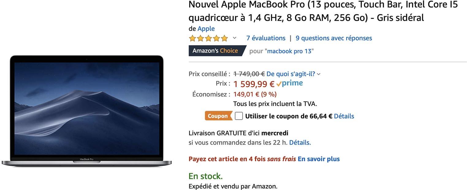 -15,8% sur le MacBook Pro 2019 d'entrée de gamme