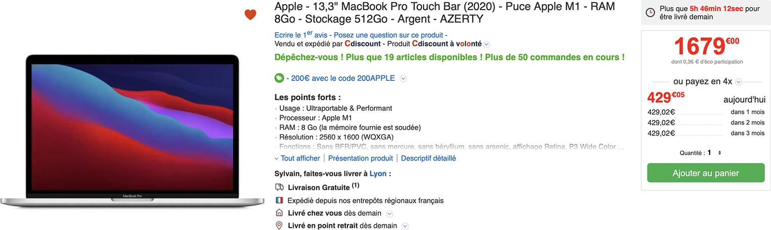 MacBook Pro M1 promo CDiscount