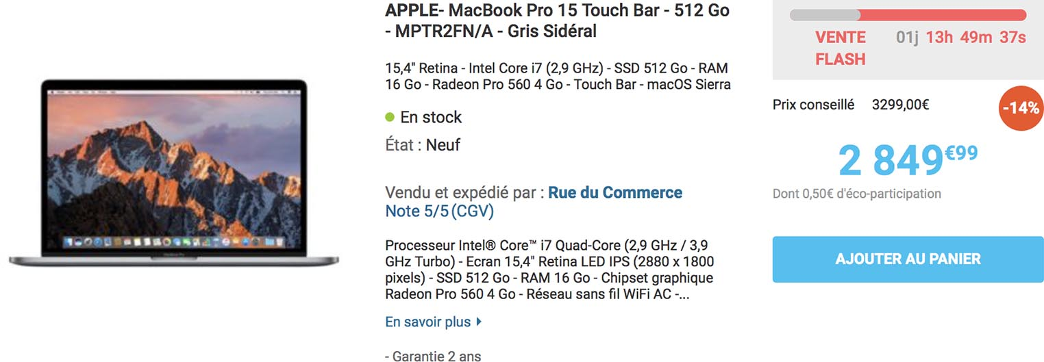 MacBook Pro 15 vente flash Rue du Commerce