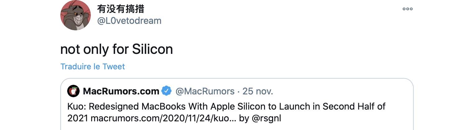 Tweet MacBook Pro Intel 2021 L0vetodream