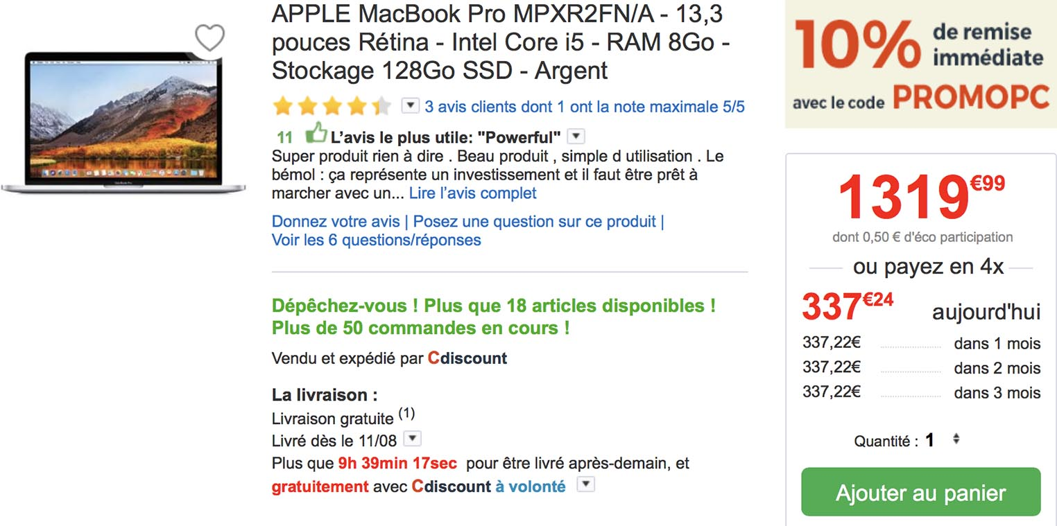 MacBook Pro 2017 promo CDiscount
