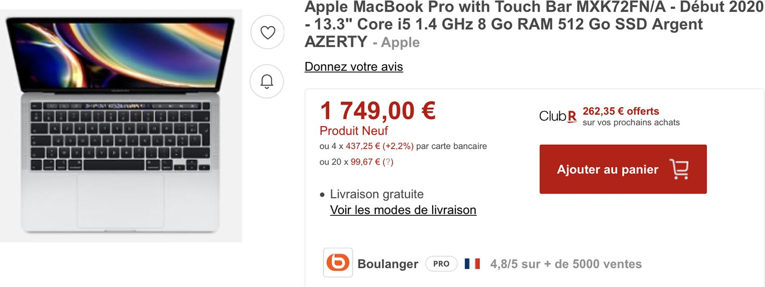MacBook Pro 2020 Rakuten