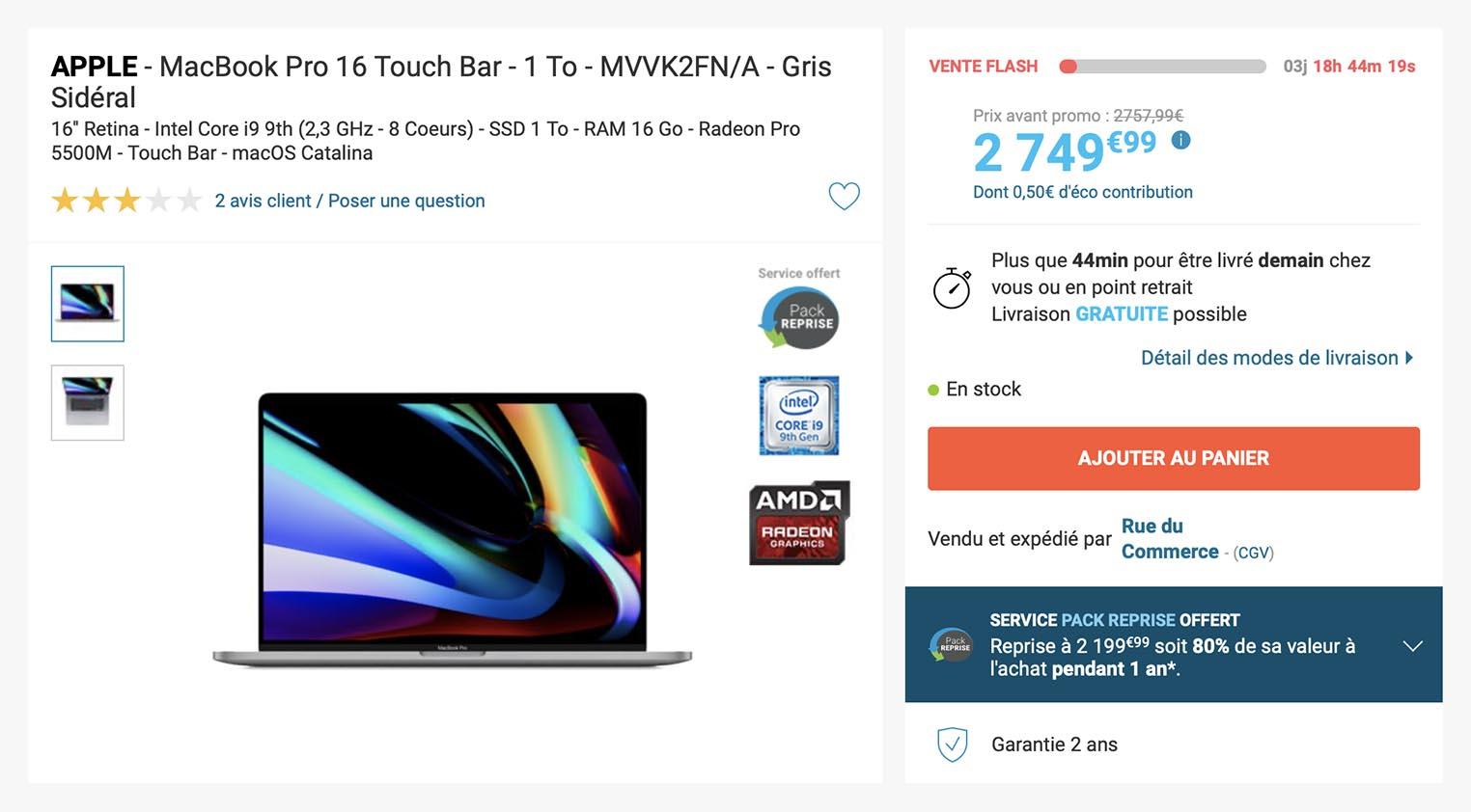 Vente flash MacBook Pro 16 pouces Rue du Commerce