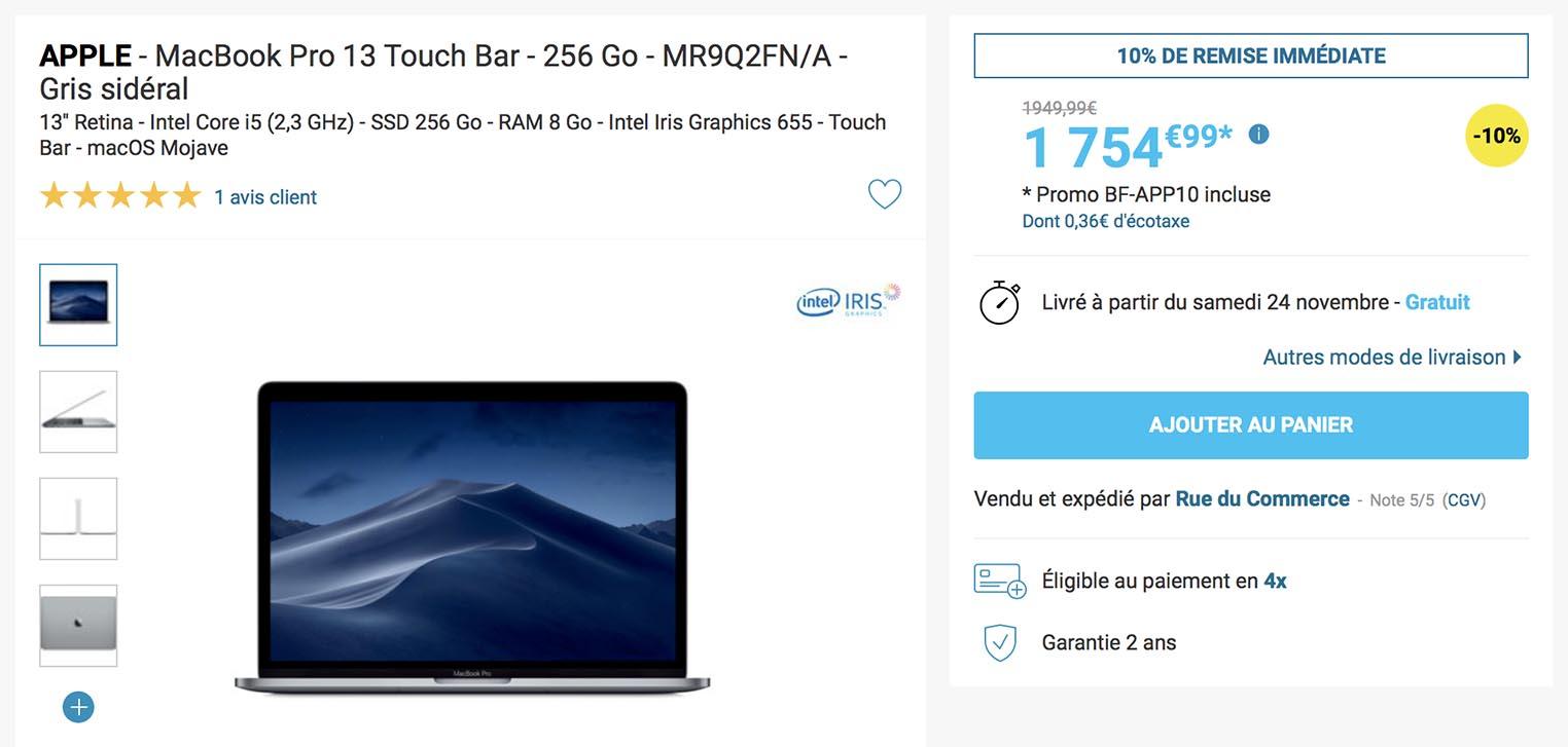 MacBook Pro Rue du Commerce Black Friday 2018