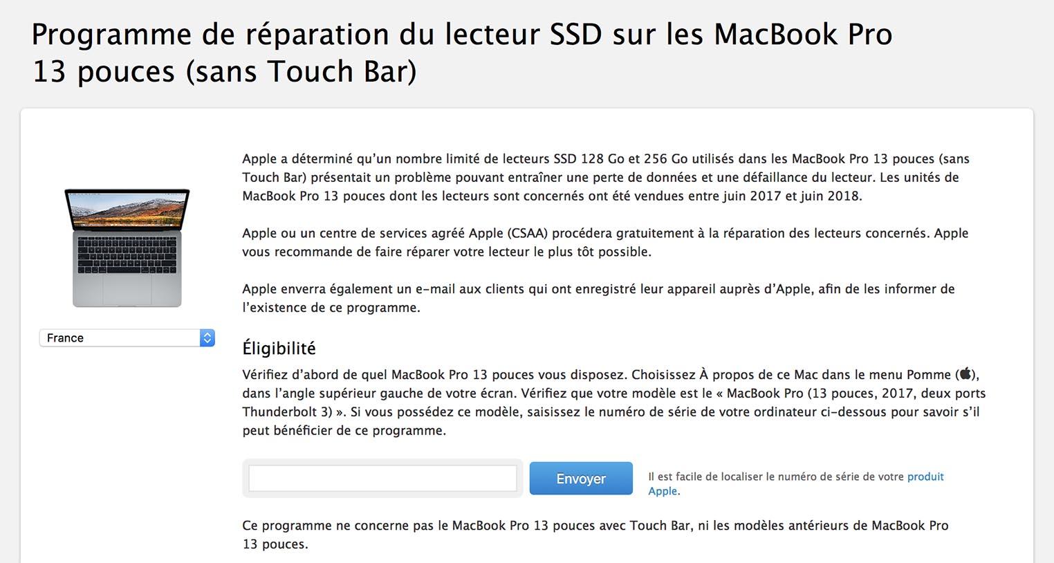 Programme réparation SSD MacBook Pro 2017